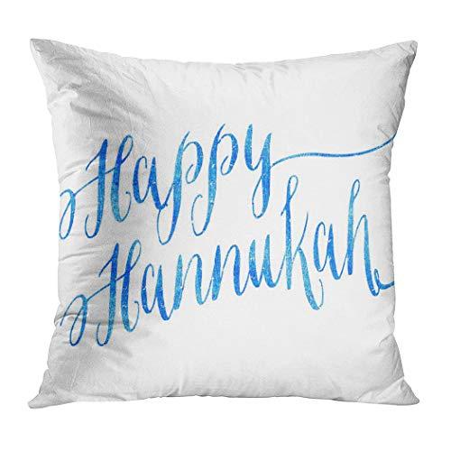 Moladika Hanukkah Throw Pillow Cover Square 18 x 18 Inch Happy Hannukah Chanukah Blue Faux Cushion Home Decor Living Room Sofa Bedroom Office Polyester Pillowcase