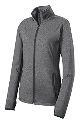 Joe's USA Ladies All Sport Wicking Stretch Contrast Full-Zip Jacket-Grey-XL from