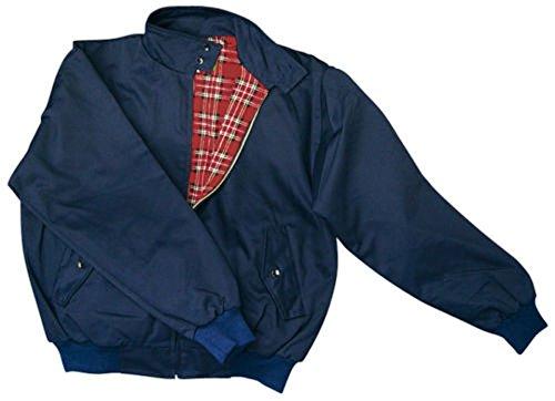 """""""harrington"""" veste avec doublure à carreaux twill qualité s/s (bleu marine)"""