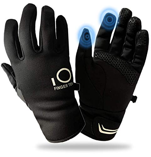 Winter Gloves for Men Touchscreen Cold Weather Windproof Warm Thermal Grip for Outdoor Running Ski Snow Work Lightweight (Black-New, Large)