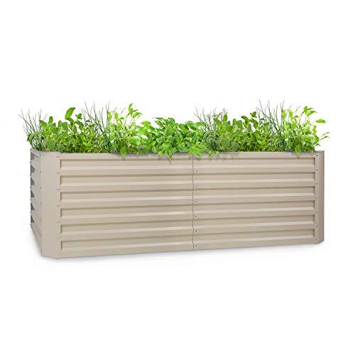 blumfeldt High Grow Straight - Hochbeet Gartenbeet, Material: verzinkter Stahl; Ø 0,6 mm, Rostschutz, 4 Aluminium-Schutzbalken, Größe: 200 x 60 x 100 cm (BxHxT), Volumen: 1200 l, beige