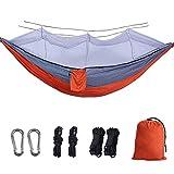 BSFYUK Doppia Camping Hammock con zanzariera Leggeri in Nylon Parachute Amache per Camping Corda del Cotone di Viaggio Beach Escursionismo Backyard (Contenere Fino a 800lbs),Arancia