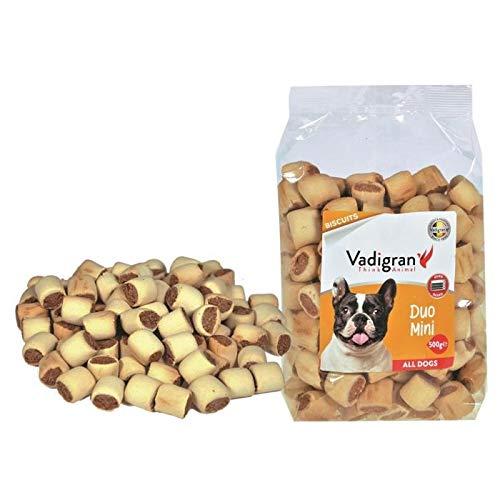 VADIGRAN Biscotti Snack per Cani Duo Mini ripieni con Carne e vitamine - Confezione da 500 gr - 500 ml