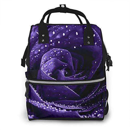 GXGZ Mochila Violet Rose para pañales: elegante bolsa de pañales multifunción Mochila de viaje impermeable de gran capacidad para el cuidado del bebé