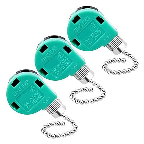 Exanko Paquete de 3 Interruptores para Ventilador de Techo, Control de Velocidad de Repuesto para Luz de Ventilador de Techo, LáMparas de Pared, Luz de Armario C ZE-268S6