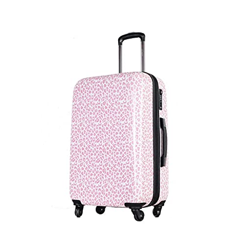 RWX Fashion Pink Leopard Imprimir Maletas De Equipaje, Maletas Ligeras, para Damas Y Niñas Maletas De Viaje, 20/24 Pulgadas (Color : Pink Leopard Color, tamaño : 20inches)