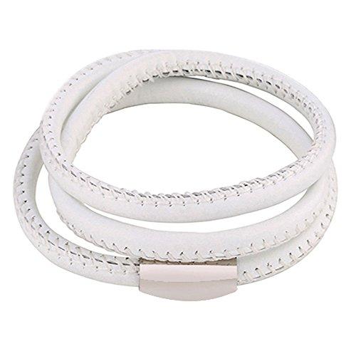 DonDon® Unisex Lederarmband weiß mit Edelstahl Magnetverschluss 60 cm - zum dreimaligen Umwickeln