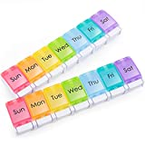 2-Pack Weekly Pill Organizer 1 Time a Day, 7 Day Pills Box Once a Day, Daily Large Vitamin...