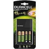 Duracell Cargador de pilas, carga en 4 horas, incluye 2 pilas AA y 2 pilas AAA