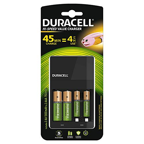Duracell CEF14-Batterieladegerät für 4 Stunden, inkl. Wiederaufladbarer Batterien, 2 AA + 2 AAA