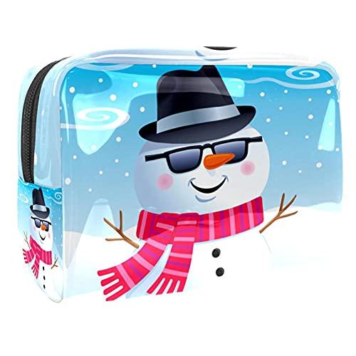 Bolsa de cosméticos para Mujeres Gafas de Sol de Snowman Fedora Bolsas de Maquillaje espaciosas Neceser de Viaje Organizador de Accesorios