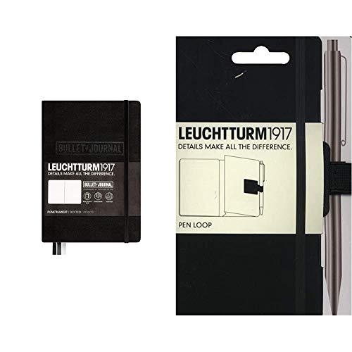 LEUCHTTURM1917 346703 Bullet Journal Libreta, Medium (A5) tapas duras, 240 páginas numeradas, puntos, negro + 339275 Pen loop lazo para bolígrafo, color negro