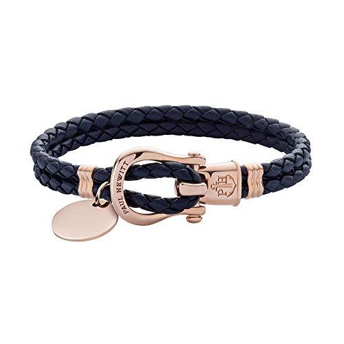 PAUL HEWITT Damen Schäkel Armband mit Gravur PHINITY - Segeltau Armband Leder, individuelle Wunschgravur, Personalisiertes Armband mit Anhänger (Rosegold) in Größe S