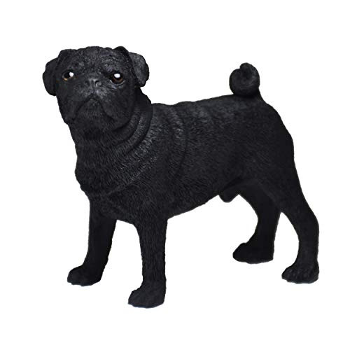 Figura Carlino Negro, Gris, Estatua de Perro, Escultura de Resina, Altura: 10cm. (Negro)
