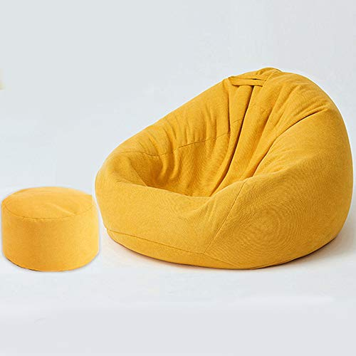 Bean Bag Pouf Sofa Beanbag Chair Pear Beanbag, Special Gamer Beanbag, Indoor Poufs Fit Living Room, Bedroom, Creamcolor,Yellow