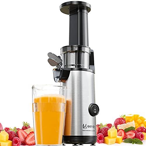 Slow Juicer, Keenray Mini Kaltpresse Entsafter Extraktor, Entsafter Gemüse und Obst mit Ruhiger Motor, Leicht zu Reinigen, Rückwärtsfunktion, Für Obst & Gemüse