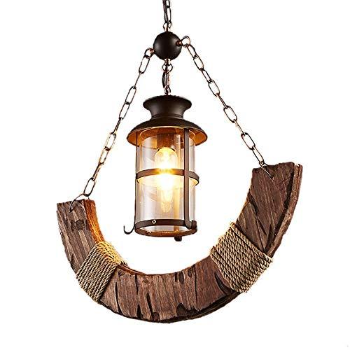 JKUNYU - Lámpara de techo retro creativa de madera para barca, estilo antiguo, para decoración del hogar