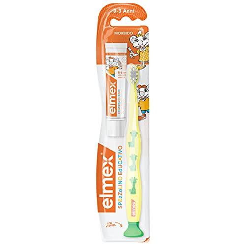 Elmex Spazzolino Educativo Bimbi 0-3 Anni, con Setole Morbide Adatte ai Denti dei Bambini, colori assortiti