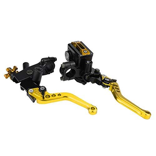 1 Paar Motorrad Brems- und Kupplungshebel Motorrad Bremse Kupplung Motorrad Bremse Kupplungszylinder Kupplungs & Bremshebelsatz für die meisten Motorräder mit 22 mm (7/8 Zoll) Lenker(Gold)