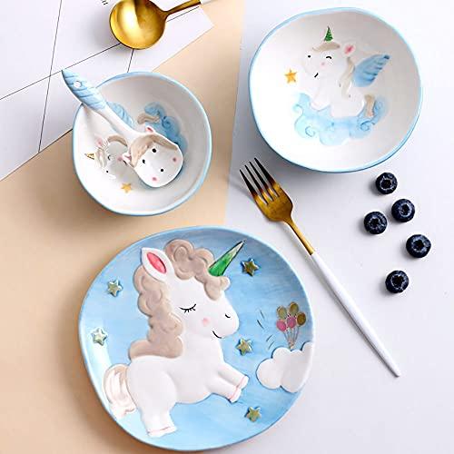 Juego de vajillas de cerámica, conjunto creativo de 4 piezas, vajilla de mascotas lindo pintada a mano, dibujos animados de niños vajilla plato plato cuchara conjunto (Color : Blue)