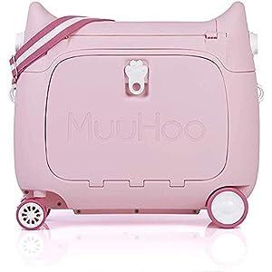 スーツケース 子供 キッズキャリーケース 子どもスーツケース キャリーバッグ 猫の形 機内持ち込み 子供用キャリーケース 20L 乗れる 寝られる MUUHOO トランク 飛行機 新幹線 (ピンク)
