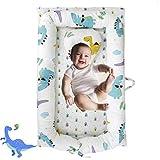 Brandream Baby Nest Bed, Dinosaur Newborn Lounger Portable Baby Bassinet Crib for Travel/Bedroom Perfect for Co-Sleeping (Dinosaur) 100% Cotton Breathable & Hypoallergenic,0-24 Months