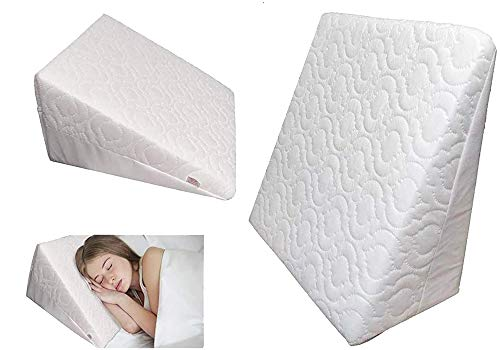 GAX Orthopedic Bed Wedge Pillow Back Support Cushion Anti Snoring, Acid Reflux & Respiratory Problems Ideal Foam for Sleeping, Reading & Rest Breathable Quilted Washable Cover Made in UK