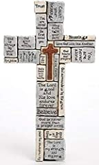 Inspirational wall cross features sentiments to brighten your day Made of a durable resin stone material; spot clean Measures approximately 16 inches tall Perfect addition to any indoor wall Contained in protective packaging