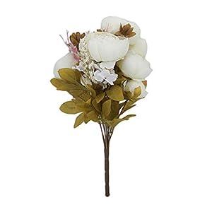 Haobing Ramo Peonías Artificiales Hogar Bodas Partido Oficina Decoración Vintage Flores Artificiales (Blanco #2…