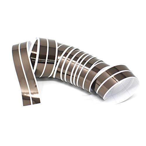 Chroom hologram sierstrip folie kleeffolie stickers decoratiestrepen 4Meter x 10mm chroom-zwart.