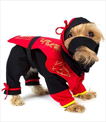 Puppe Love Dog Costume - Dragon Ninja Costumes Dress Your Dogs As Red Ninjas(Size 3)