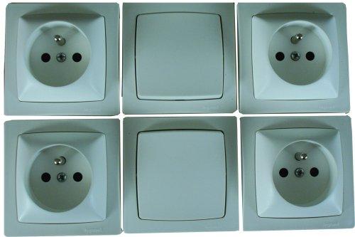 Legrand 100600 Interrupteurs ou Va et Vient + 4 Prises de Courant Appareillage Saillie, Blanc