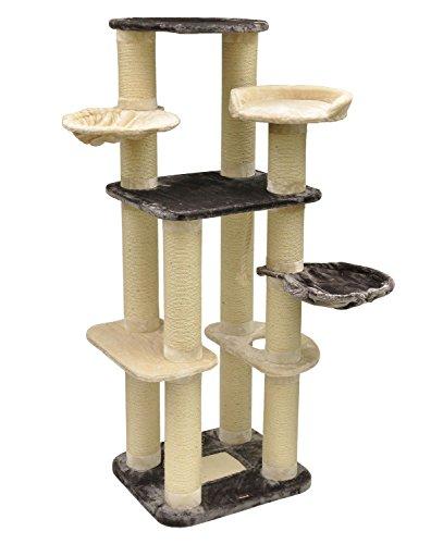"""nanook \""""Nikolai\"""" - Kratzbaum XXL, große Katzen (Maine Coon), Ø 15 cm Sisalstämme, standfest - Farbe: grau, beige"""