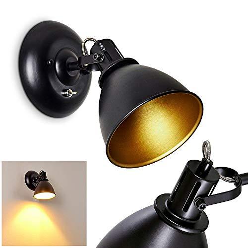 Applique murale Koppom en métal noir et or, spot orientable avec interrupteur intégré pour une ampoule E14 max. 40 Watt, compatible ampoule LEDs