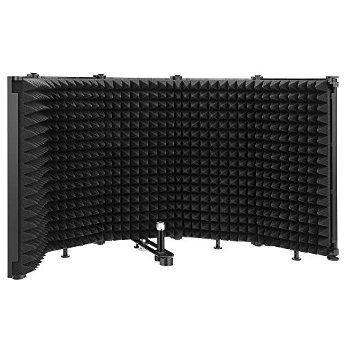 """Moukey Microphone Isolation Shield, Portable and Foldable Sound Shield With 3/8"""" and 5/8"""" Mic Threaded Mount, Mic Sound Absorbing Foam for Sound Recording Studio, Podcasts, Singing and Broadcasting"""
