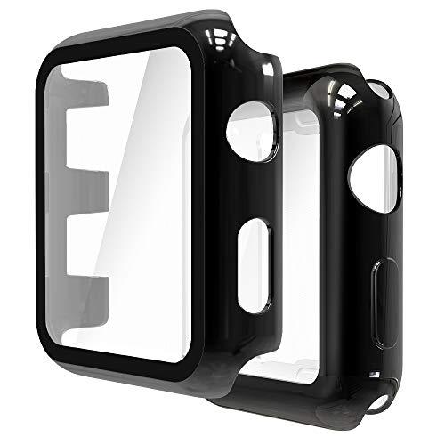 Simpeak Cover Compatibile con Apple Watch 42mm Series 2 3[2 Pezzi], 1 Pack Custodia con Pellicola Vetro+ 1 Pack Morbido Silicone Custodia Compatibile per iWatch 42mm- Nero+ Nero