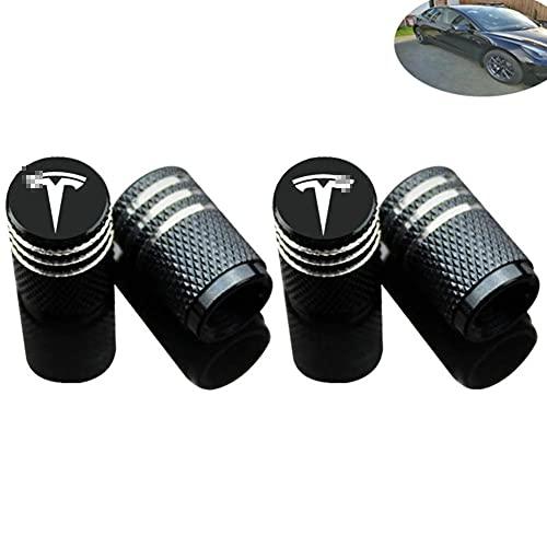 Válvulas 4pcs del coche del neumático de la cubierta, para Tesla Model S 3 X neumáticos emblema de la divisa del logotipo neumáticos hinchables Boca Tapones Car Styling Accesorios (Negro)