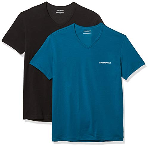 Emporio Armani Herren Core Logoband 2-Pack Vneck T-Shirt Pyjama-Oberteil (Top), Baltic/Schwarz, Small