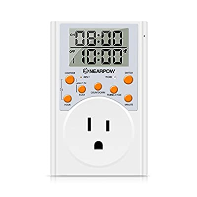 Timer Outlet, Nearpow Multifunctional Infinite Cycle Programmable Plug-in Digital Timer Switch with 3-Prong Outlet for Appliances, 15A/1800W