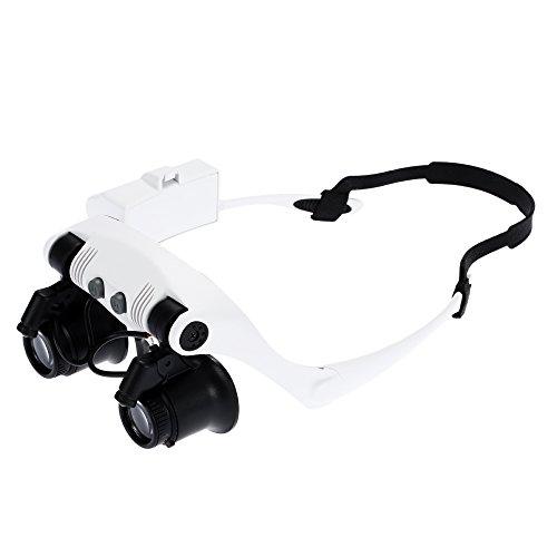 KKmoon 10x 15x 20x 25x Gafas de Aumento con 2 Luces LED Lupa Relojero Joyero Lupa de Reparación