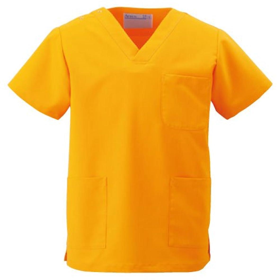 倉庫バックレーダー医療ユニフォーム 手術衣  スクラブ(男女兼用) KAZEN オレンジ サイズ:L  133-84