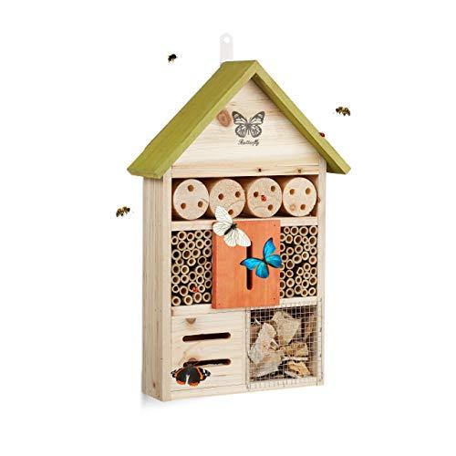 Relaxdays Hôtel à Insectes Papillon Coccinelle Abeille Jardin Balcon à Suspendre HxlxP: 41, 5 x 27, 5 x 8, 5 cm, Vert, 5 x 8,5 cm, 8, 41,5 cm