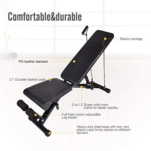 FULLWATT Adjustable Weight Bench, 440 lbs Capacity Exercise Bench Foldable Utility Weight Bench for Full Body Workout, Multi-Purpose 8 Back Pad Positions Workout Bench Adjustable with Pull Strings
