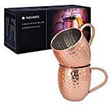 Navaris 2X Taza de Cobre para Moscow Mule - Set de jarras de Acero Inoxidable Chapado en Cobre de 500 ML - Tazas para Bebidas frías Cerveza cócteles