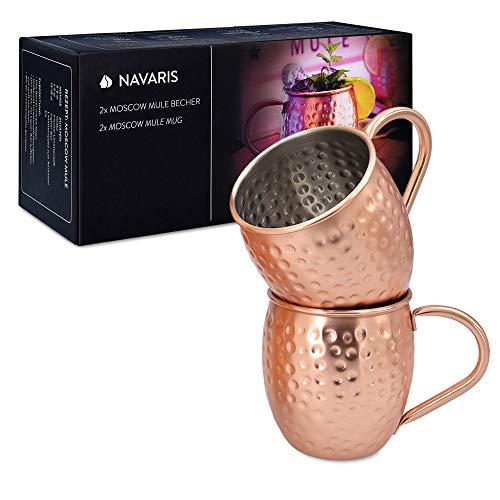 Navaris Moscow Mule Becher 2er Set - 2x Kupferbecher für Moskau Mule Gin Bier - Cocktail Mug gehämmert - Tasse aus Edelstahl mit Kupfer