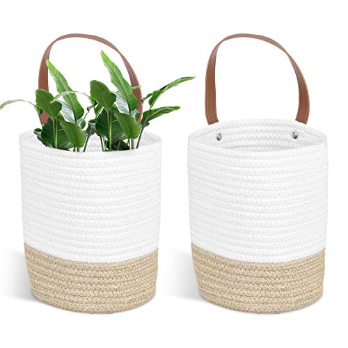 STRAWBLEAG 2 Pack Cotton Rope Storage Basket Hanging Storage Baskets Small Cotton Rope Basket with Leather Handles Boho Woven Hanging Storage Organizer for Towels Toys Plant and Home Décor