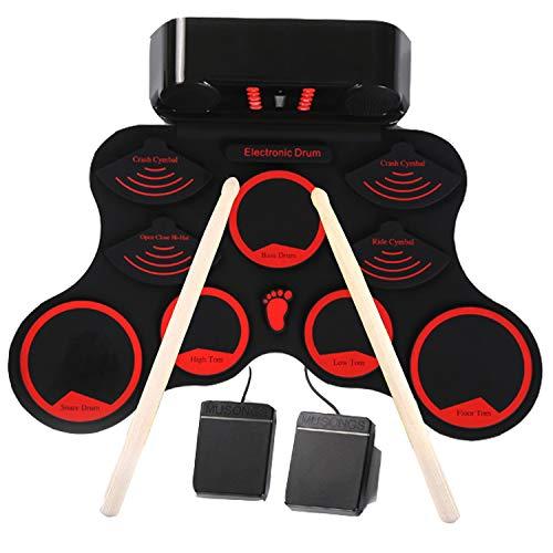 Kinder Schlagzeug Set,Schlagzeug für Kinder, 9 Drumpads E-drum mit Eingebaute Lautsprecher und Sticks für Weihnachten und Geburtstag