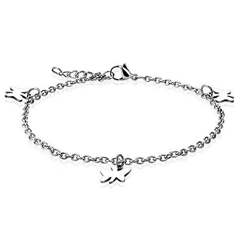 Bungsa® vlinder bedelarmband zilver voor dames vlinder voetketting (roestvrij stalen armband damesarmband herenarmband bracelet chirurgisch staal sieraden)