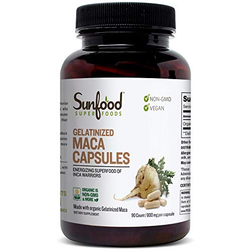 Sunfood Superfoods Maca Capsules- Gelatinized for Easy Digestion | Guaranteed Best Quality | 100% Pure (No Chemicals, Fillers, Additives) Organic, Non-GMO, Vegan, Gluten-Free | 800mg, 90 Count Bottle