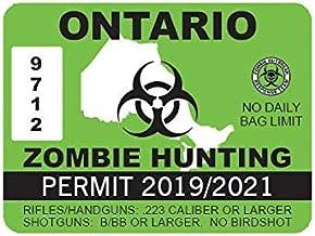 EW Designs Ontario Zombie Hunting Permit Sticker Decal Vinyl Canada on Bumper Sticker Vinyl Sticker Car Truck Decal 5
